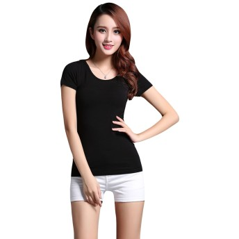 (Pink17°) レディース カップ付きTシャツ カットソー ブラトップ ゆったりサイズ 半袖4サイズ yd05 (L, ブラック)