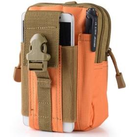 (ミオ) MIO 防水 ガジェットポーチ ウェストバッグ ストッパー付カラビナパック iPhone 7 plusなど5.5インチ対応 ショルダーバッグ (オレンジ)