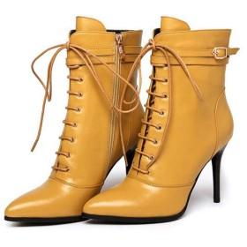 [ツネユウシューズ] ベルト ブーツ ピンヒール ブーツ ショートブーツ 黒 ブーツ ミドルブーツ ブーツ レースアップ レディース ハイヒール 編み上げブーツ 9.5cm イエロー ポインテッドトゥ コスプレ レースアップブーツ