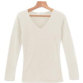 (パークガール)PARK GIRL テレコ素材シームレスダブルフロントVネック長袖カットソー レディース 大きいサイズ M/L 5593355934 (L, オフホワイト)