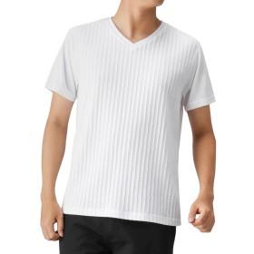 Real Standard(リアルスタンダード) ケーブルジャガードVネックTシャツ 82-7163P-BM メンズ ホワイト:M