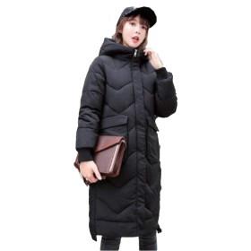 [ダーセン]レディース ロング コート ダウンジャケット 中綿コート 厚手 青春 活発 ゆったり 大きいサイズ 防寒 防風 大きいサイズ 防寒 通勤 通学 ブラック2XL