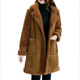 [美しいです] 冬 厚手 ムートンコート 防寒着 フリース ジャケット 綿入れ ロングコート 折り襟 アウター ジャケット スウェード ボアブルゾン レディース 写真色BM