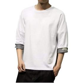 半そでシャツ しちぶたけ サルエル 七部丈 袖まくり (ホワイト, M)