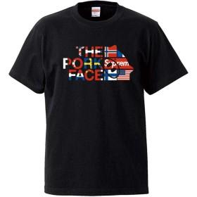 [THE PORK FACE (ザ・ポークフェイス)] $upreme パロディ 国旗ロゴ Uネック コラボ半袖Tシャツ ブラック L ロゴ大