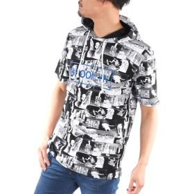 (スコーネ) SKKONE Tパーカー メンズ 半袖 フォトプリント ロゴ プリント フード付き 総柄 黒白 春 夏 半袖Tシャツ Tシャツ プルパーカー カットソー お洒落 ユニセックス ブラック L