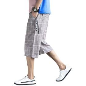 VINMORI (ヴィンモリ) メンズ ミディアムパンツ ズボン 袴パンツ ファッション 吸汗速乾 ワイドパンツ 調整紐 ゆったり 通気性 夏服 棉麻 7分丈