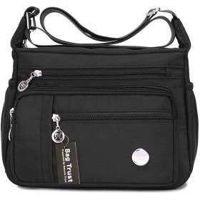 【Bag Trust】 斜めがけ バッグ ショルダー バッグ レディース 防水 ナイロン 撥水加工 カジュアル バッグ シンプル おしゃれ (スモール, ブラック)