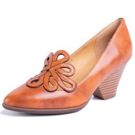 [Maysky] ポインテッドトゥ パンプス 花柄 EE 歩きやすい 痛くない 履きやすい フォーマル 通勤 シンプル 上品 ローヒール ヒールパンプス オフィス 柔らかい 婦人靴 (230, ブラウン)