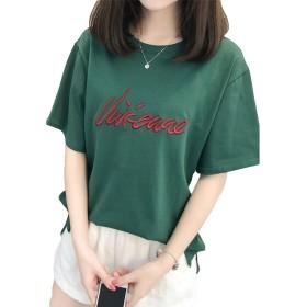 (シンイ)Xin Yi レディース tシャツ コットン 女性 Tシャツ ラウンドネック シンプル 半袖 刺繍 春 夏 ゆったり カジュアル 大きいサイズ ファッション
