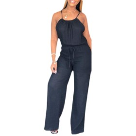 Fly Year-JP Womens Casual Plain Spaghetti Strap Sexy Jumpsuit Rompers Wide Leg Pants Black XXL