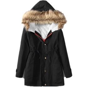 Lisa Pulster コート 秋服 冬服 暖かい 防寒着 ミリタリーコート 軽い 女性用 綿入れの外套 大ヤードの女装 (ブラック, M)