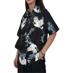 [ジャンーウェ]レディース アロハシャツ プリント 鶴 シャツ 半袖 ゆったり bf風 学生 ファッション ブラック