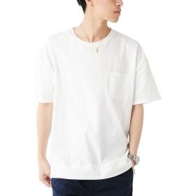 ホワイト L (ベストマート)BestMart 無地 ビッグシルエット ポケット Tシャツ 半袖 綿 オリジナル メンズ クルーネック ゆる ゆったり 624754-006-201