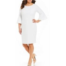 カルバンクライン レディース ワンピース トップス Plus Size Round Neck Bell Sleeve Sheath Dress White