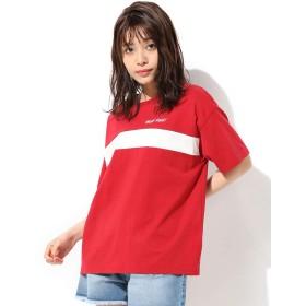 トップス レディース 半袖 Tシャツ スポーツ ゆったり オーバーサイズ UVカット 春 夏 夏 Honeys ハニーズ 配色Tシャツ 587013563054 アカ L