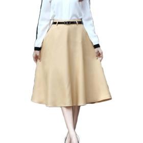 (エンジェルムーン) AngelMoon カラースカート ロング ミモレ丈 フレア チノスカート Aライン レディース (L, ベージュ)