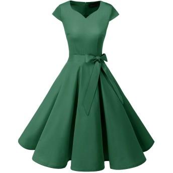 Dresstell(ドレステル) スイングワンピース カップ袖 Vネック 50年代 ウィンテージ お呼ばれ 結婚式 フォーマルドレス レディース グリーン XSサイズ