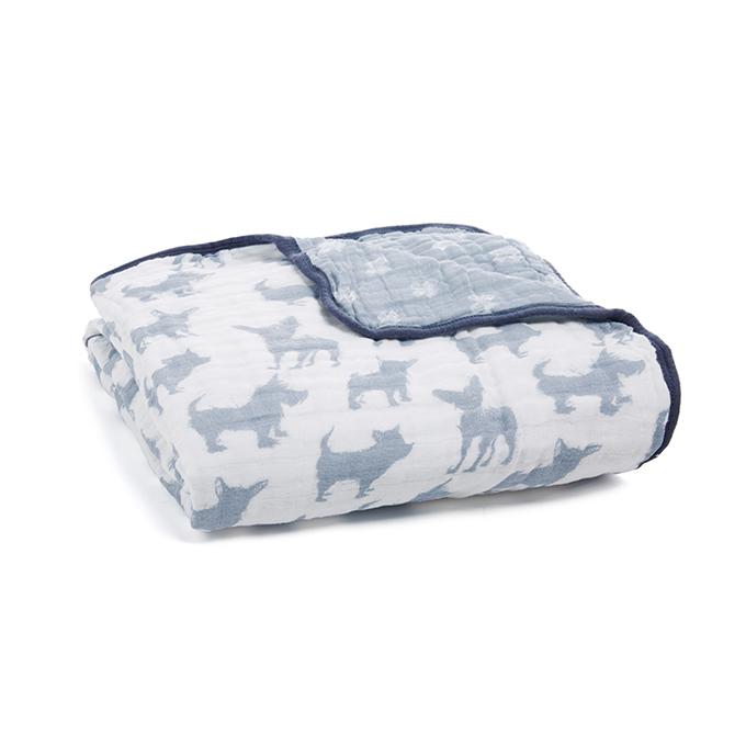 美國Aden & Anais 經典四層紗厚毯-藍色小狗