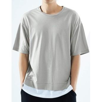 Aoli メンズ tシャツ 半袖 綿 レイヤード クルーネック トップス 夏 カーキXXXL
