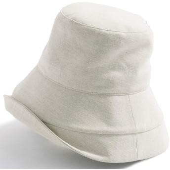 クイーンヘッド UVカット 帽子 綿ポリブリムUVハット 小顔 ハット レディース 大きいサイズ つば広 紫外線カット 女優帽【BIG 61-63cm-ミルク】