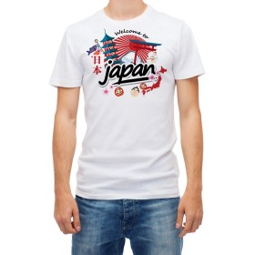 Welcome to Japan Men's White 3/4 Short Sleeve Cotton T Shirt (XXL)