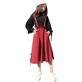 (グードコ)ロリータワンピレディース2点セットドレス長袖+スカートワンピースAラインフレアロリータお嬢様ファッションレッドF