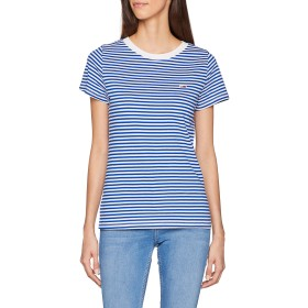 トミージーンズ女性のトミークラシックストライプTシャツ半袖Tシャツスポーツニット、ブルー(リモージュ/クラシックホワイト434)、ミディアム