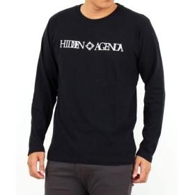 (TopIsm/トップイズム)綿100%ロゴプリント長袖Tシャツ/メンズ ブラック