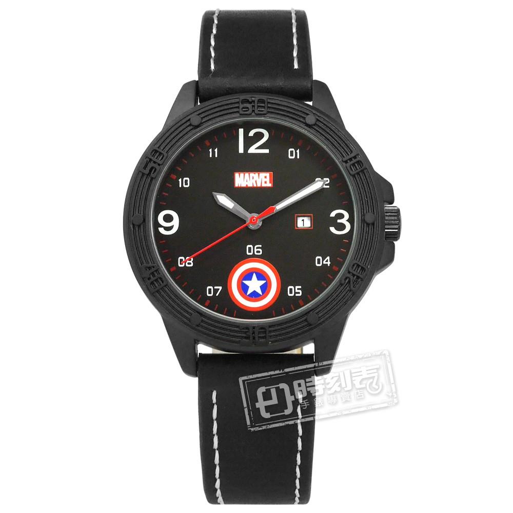 Disney 迪士尼 / 漫威系列 美國隊長 盾牌 卡通錶 皮革手錶 黑色 / MV-81074B1 / 36mm
