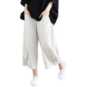 (ニカ) サルエルパンツ レディース ワイドパンツ 長ズボン 大きいサイズ 夏 秋 綿麻パンツ ゆったり おしゃれ パンツベージュT3
