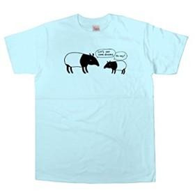 [幸服屋さん] 手描き動物Tシャツ 夢は食べないバク (半袖) AM40 160 ライトブルー
