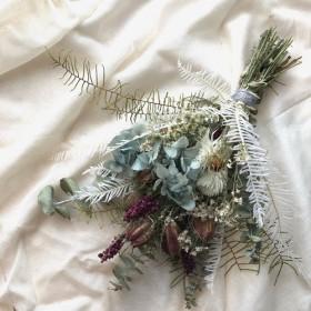 紫陽花とヤマシダのドライフラワースワッグ