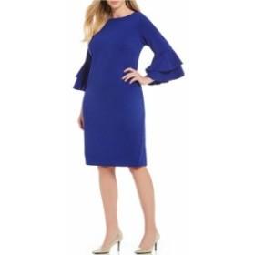 カルバンクライン レディース ワンピース トップス Plus Size Tiered Bell Sleeve Sheath Dress Ultramarine