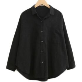 Feilei レディース ドルマンスリーブ 七分袖 ゆったりショート シャツ 無地 シャツ チュニック (ブラック)