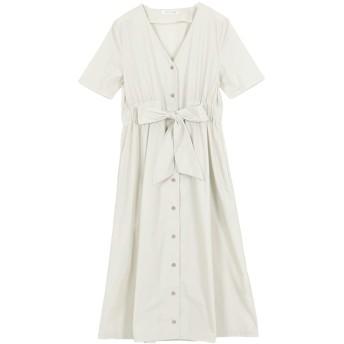 [神戸レタス] ウエストリボン ガウンシャツ ワンピース レディース [E2050] ワンサイズ(M) アイボリー