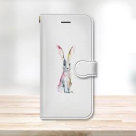 ★うさぎ 水彩デザイン スマフォケース 手帳型2 動物 白