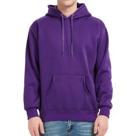 Pizoff(ピゾフ) メンズ パーカー 長袖 パープル 無地 スウェット 裏パイル プルオーバー 大きいサイズ 春秋AR001-Purple-L-Boy