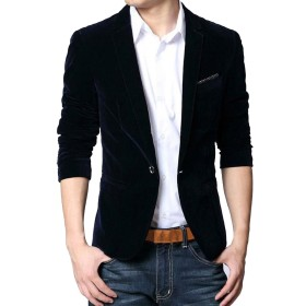 (ネルロッソ) NERLosso テーラードジャケット メンズ ベロア調 ブレザー テイラード ジャケット ビジネス フォーマル カジュアル 長袖 正規品 180サイズ ダークブルー6105 cmn24164-180-dbu6105