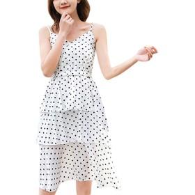 Mini sunshine ワンピース リゾートワンピース ノースリーブ レディース シフォン 肩出し チュニック ドレス マキシ ワンピ 体型カバー 着痩せ おしゃれ カジュアル ファッション(ホワイト,M)