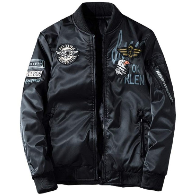 Jearey ジャケット 両面着 中綿 ブルゾン リバーシブル MA1 フライトジャケット ミリタリー ジャンパー 刺繍 防風 防風 秋冬 大きいサイズ