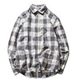TENGDA ネルシャツ ボタンダウン メンズ チェック ギンガムチェック ラペル 長袖 ゆったり カジュアル おしゃれ シンプル 薄手 春 夏 シャツ 大きいサイズ グレー L