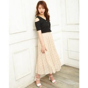 【INGNI:スカート】花柄単色シフォンプリーツ スカート