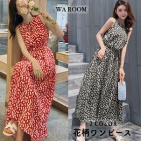 レディース 春夏 きれいめ 花柄ワンピース シフォンワンピ ロングワンピース 小柄 レディースファッション 韓国風