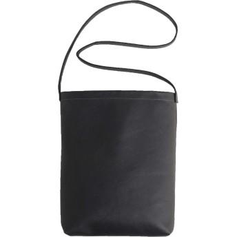 イタリアンレザー 本革 サコッシュ 無地 メンズ 日本製 軽量 斜め掛け : ブラック