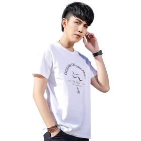 (デモン&ハンター) Demon&Hunter TX2シリーズ メンズ 純綿 シームレス クルーネック 半袖 Tシャツ 白 DTX1918W-M