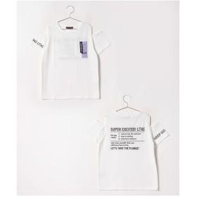 Lovetoxic 肩開きネームポケットTシャツ(オフホワイト)