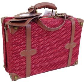 [ハナイズム] ミニトランクボックス 鞄 ケース バッグ ポーチ SQ (34/レッドコットン×ブラウン)