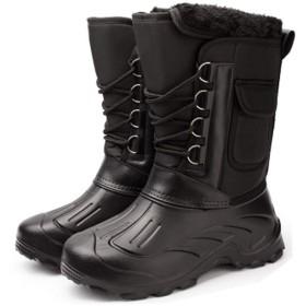 (グードコ) 棉靴 メンズ スノーブーツ 厚底 ムートンシューズ 長靴 ロングブーツ 防水 安全靴 スポーツ 防滑 お洒落 暖かい 軽量 滑り止め オシャレ ブラック26.5 cm
