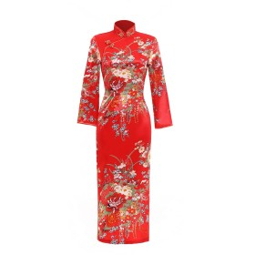(上海物語)Shanghai Story チーパオ ロング丈 チャイナドレス 女性 民族衣装 ワンピース レディース チャイナ服 花柄 旗袍 長袖 チャイナ風 パーティードレス ステージ衣装 レッド サイズ XL
